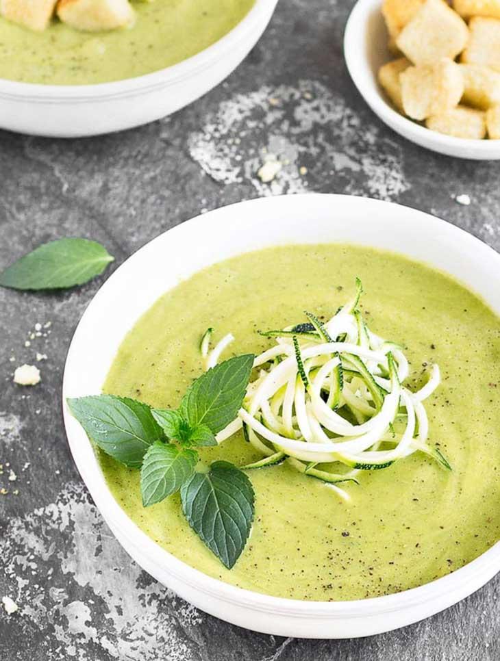 Healthy zucchini avocado soup