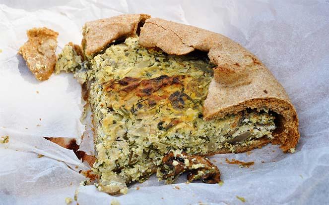 ricotta mushroom galette tart slice