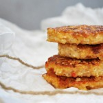 Chiftelute de mei cu branza feta si rosii Millet Cakes with Feta and Roasted Tomatoes