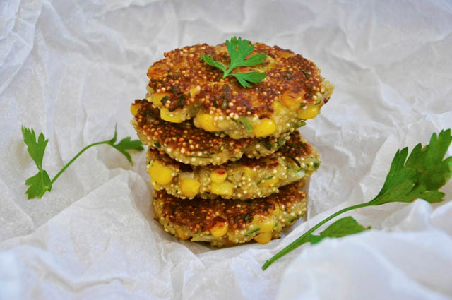 Quinoa Patties with Sweet Corn Burger