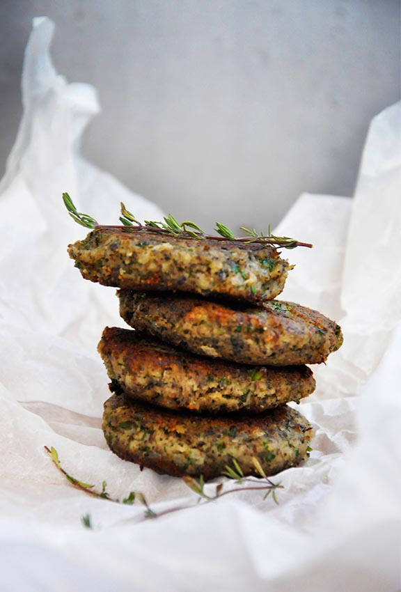 High-Protein Vegan Recipes Protein-Rich Mushroom Hemp Patties with Herbs vegetarian