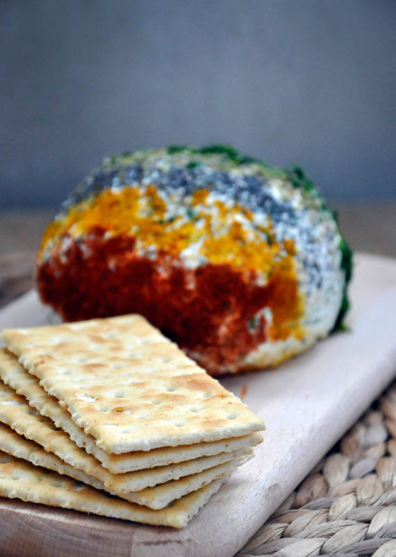 Ricotta Cheese Ball with Spices and Herbs party crackers