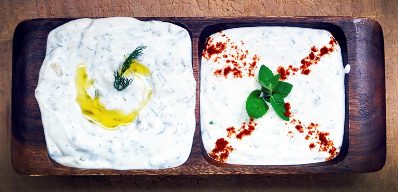 Feta Mint Yogurt Dip and Tzatziki recipe
