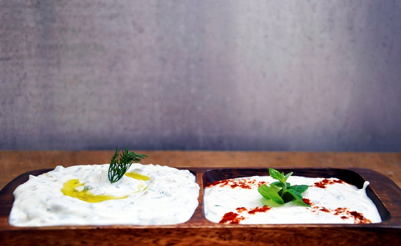 Yogurt Appetizers Feta Mint Yogurt Dip and Tzatziki