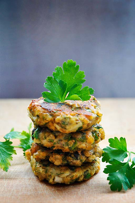 Lentils and Eggplant Patties with Olives and Herbs recipe