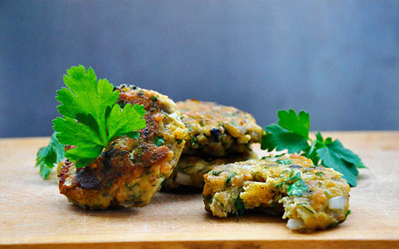 Lentils and Eggplant Patties with Olives and Herbs vegan recipe