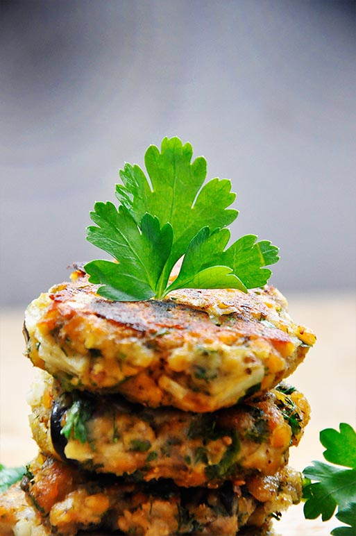 Lentils and Eggplant Patties with Olives and Herbs vegan