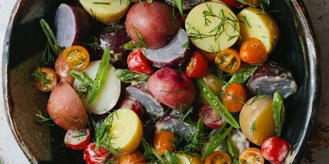 Vegetarian easter menu recipes 15 veg recipes for easter potato salad with dill horseradish aioli via a thought for food forumfinder Choice Image