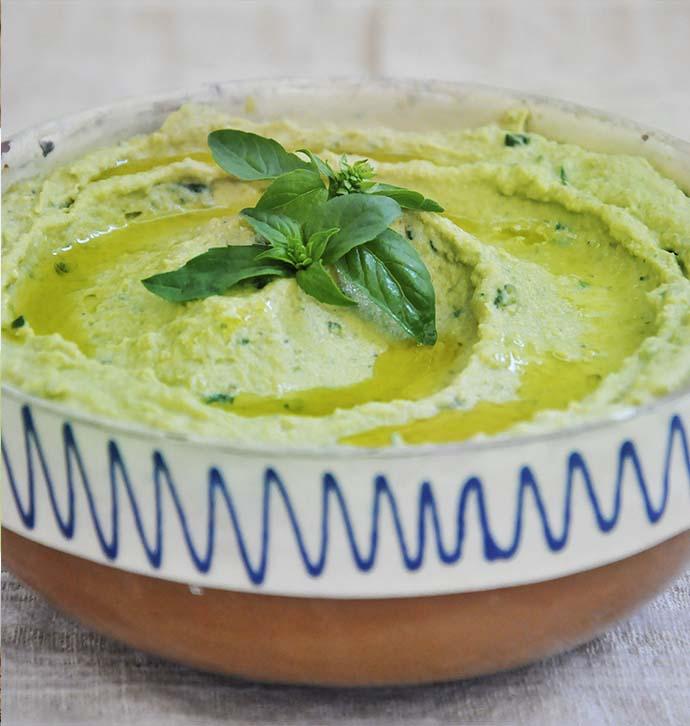 Basil Pesto Hummus vegan recipe