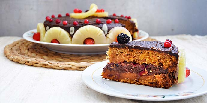 Gluten-Free Chocolate Cake with Berries and Pineapple slice