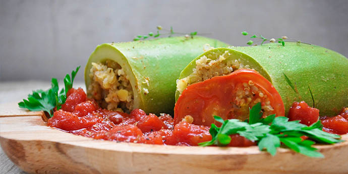 Stuffed zucchini with quinoa lentils