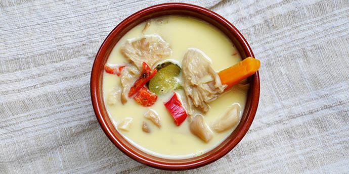 Vegan Hangover Soup Pleurotus Mushroom Soup Ciorba de burta vegana