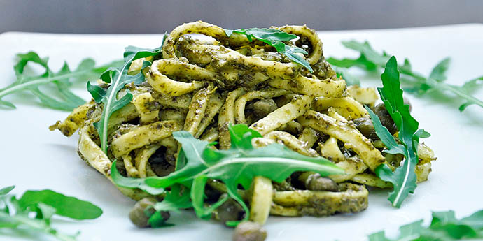 pasta with arugula pesto and capers vegan gluten free. Black Bedroom Furniture Sets. Home Design Ideas