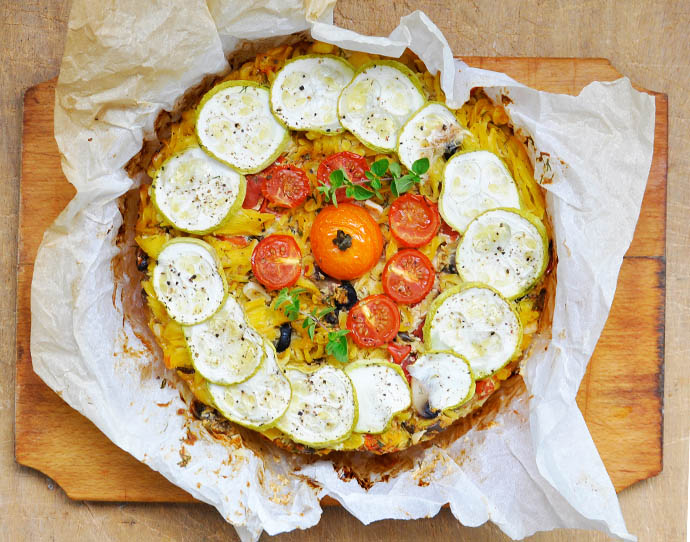 Baked Pasta Tart with Smoked Tofu