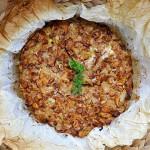 Chanterelle Mushroom Pasta Tart Tarta de spaghete cu galbiori