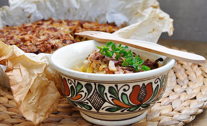Chanterelle Mushroom Pasta Tart Tarta de spaghete cu galbiori casserole