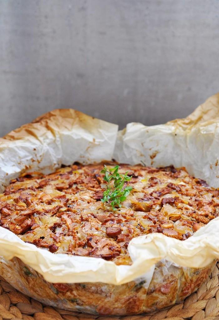 Chanterelle Mushroom Pasta Tart Tarta de spaghete cu galbiori reteta
