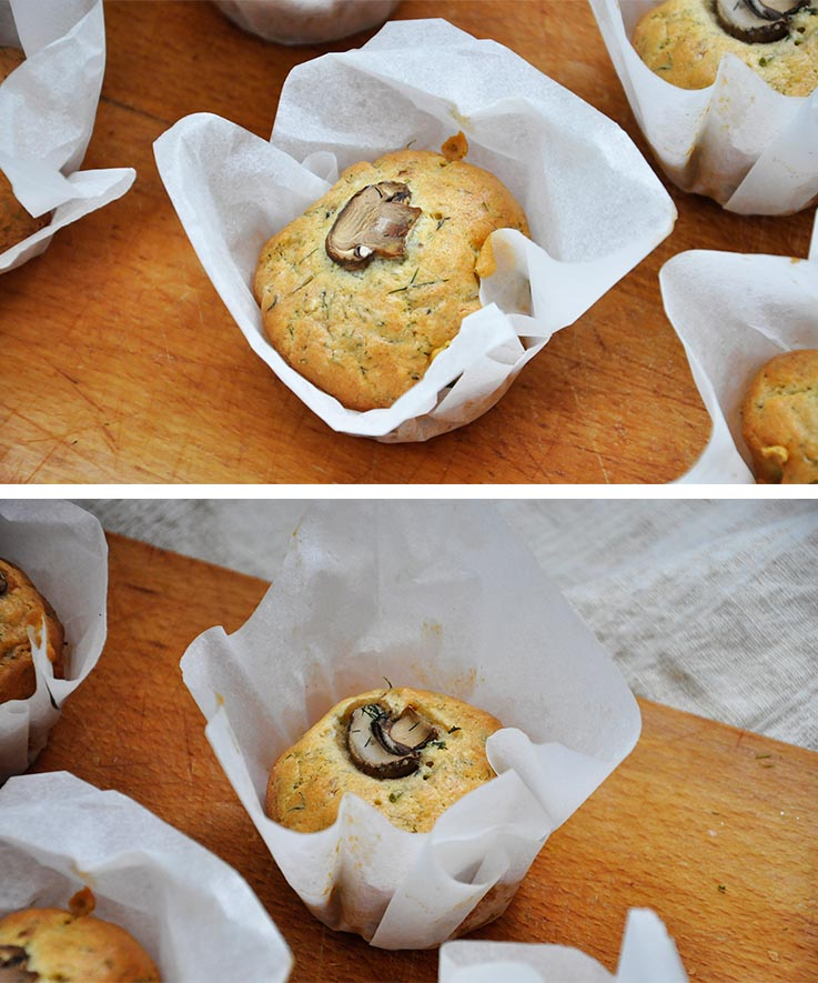 Gluten-Free Savory Muffins with Mushrooms Briose sarate fara gluten cu ciuperci vegetarian