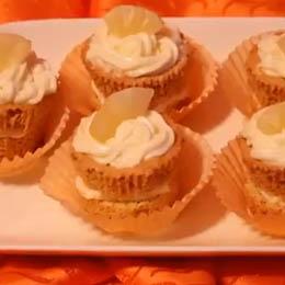 Cupcakes cu ananas si crema de vanilie-fara gluten