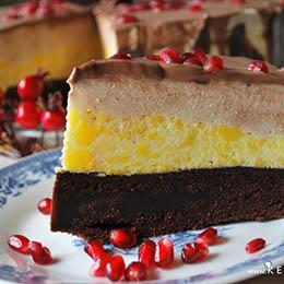 Tort cu Blat fara Gluten, Mousse de Portocale, Mousse de Iaurt si Banane si Glazura de Ciocolata