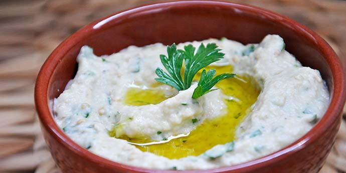 Baba Ganoush Tahini Eggplant Spread Salata de vinete cu tahini vegetarian