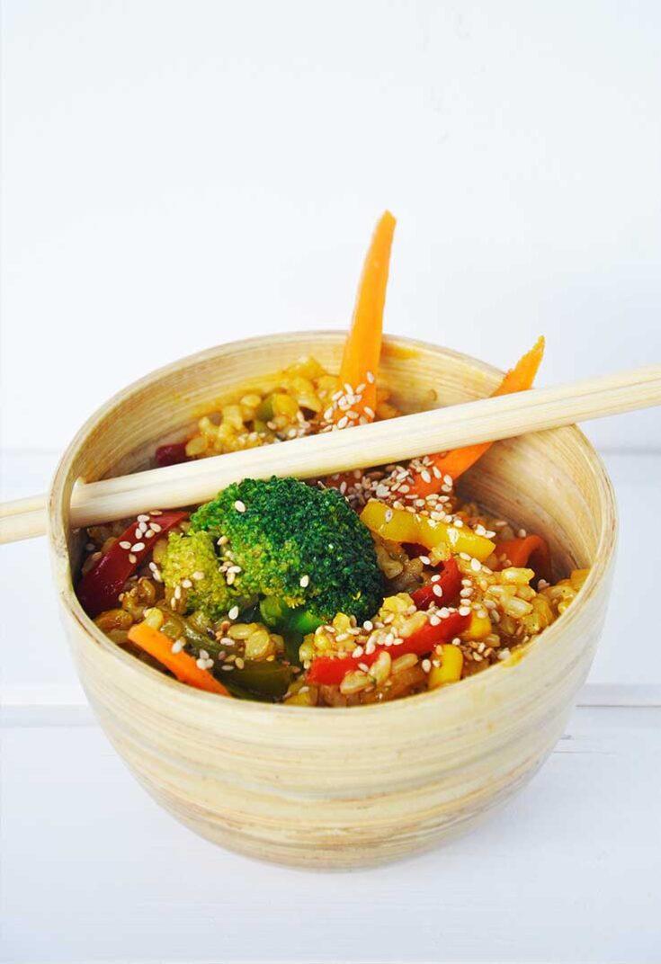 Macrobiotic Stir Fry Veggies Rice