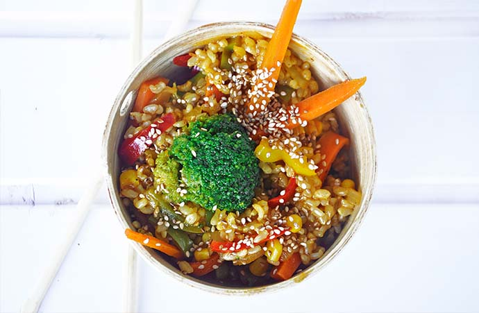 Macrobiotic Stir Fry Veggies Rice vegetarian