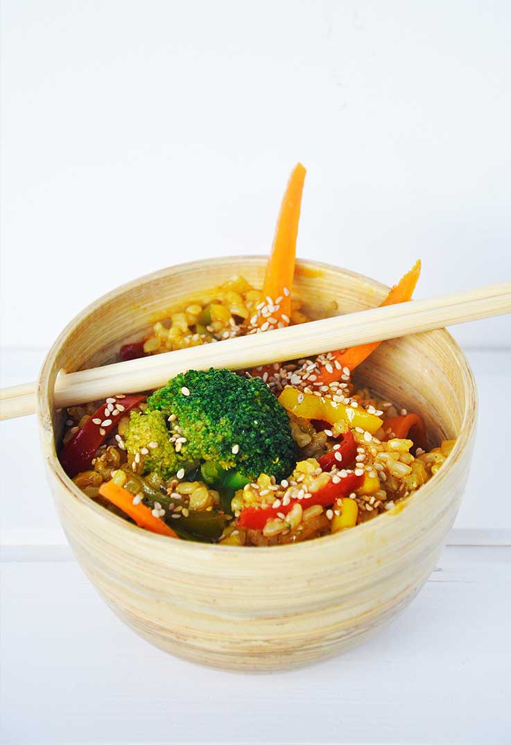 Macrobiotic Stir Fry Veggies Rice