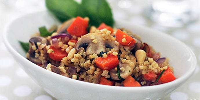 Millet with Carrots, Mushrooms and Mint macrobiotic breakfast recipes