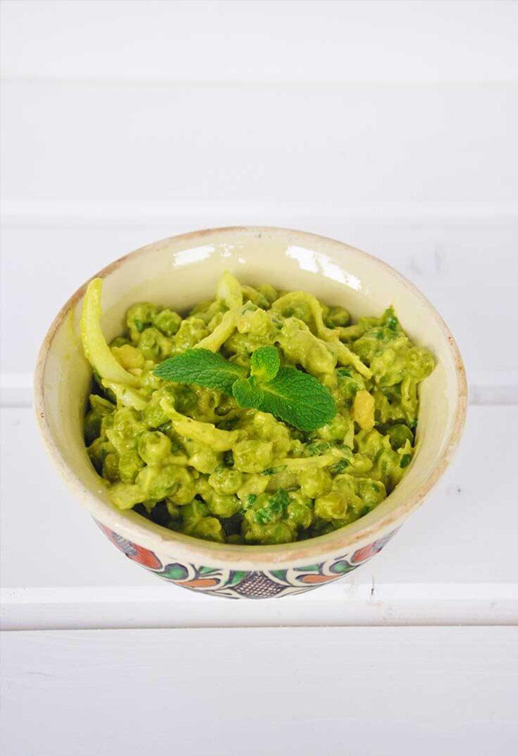 Warm Green Pea Salad Avocado Mayo Mint Salata de mazare verde cu maioneza avocado menta