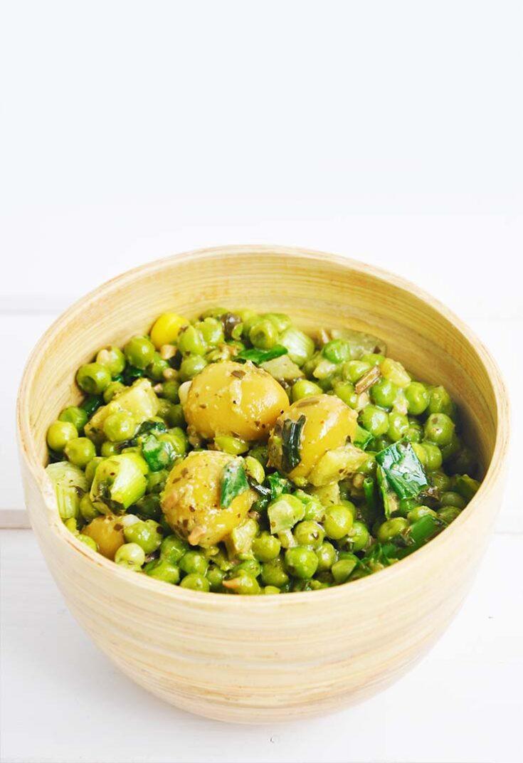 Green Pea and Olives Salad Salata cu mazare verde si masline