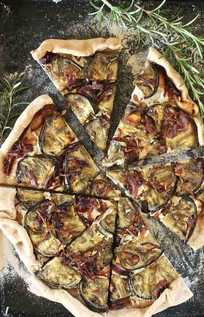 Eggplant Pizza with caramelized onions