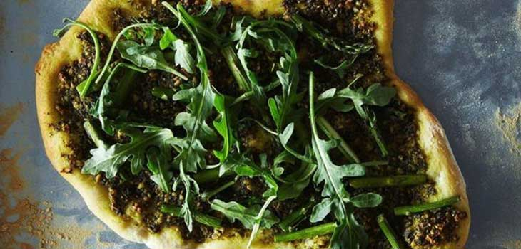 Asparagus-and-Aragula-Pizza vegan dinner recipes