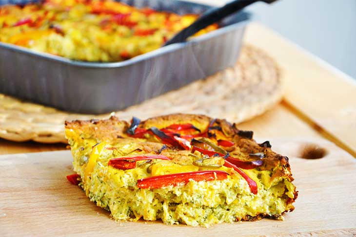 gluten free vegan Crustless Quiche with Peppers quiche vegan cu ardei gras fara gluten