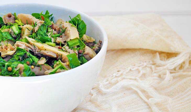 Pickled Oyster mushroom salad salata cu ciuperci pleurotus reteta