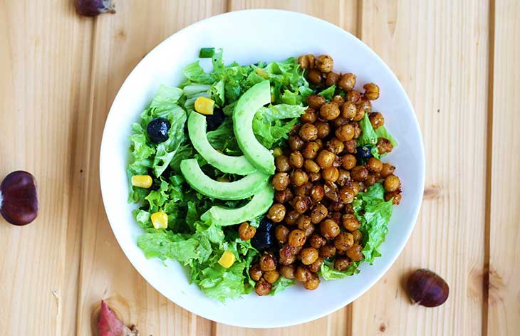 Crispy Chickpea Salad | How to make chickpea croutons