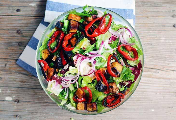 Summer Salad with Peppers Eggplant salata de vara cu ardei si vinete