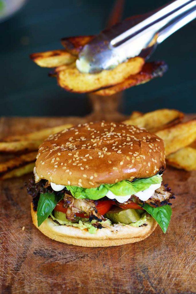 vegan chicken burger fries