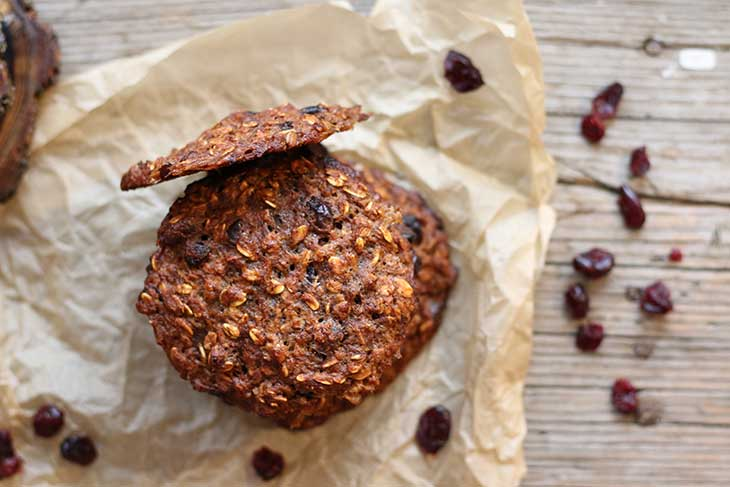 Banana Oatmeal Cookies with Cranberries