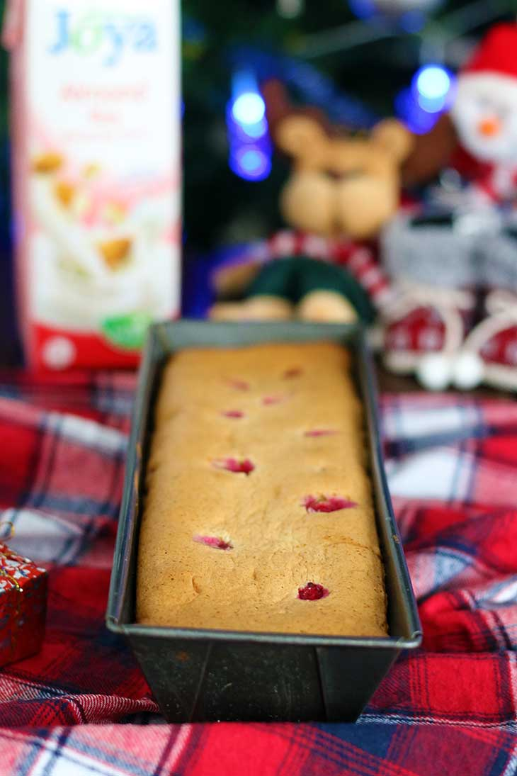 christmas Vegan Sponge Cake with Red Currants