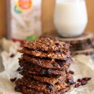 vegan Banana Oatmeal Cookies with Cranberries fursecuri de ovaz cu merisoare reteta