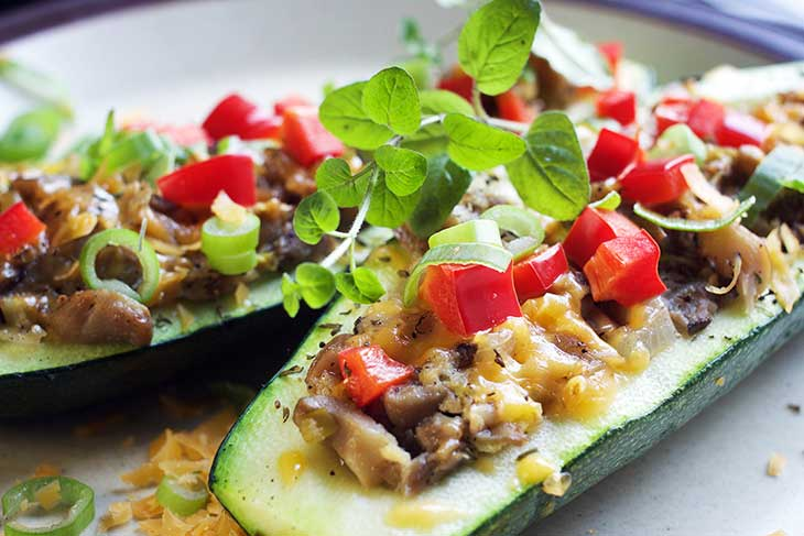 baked Zucchini boats with mushroom stuffing