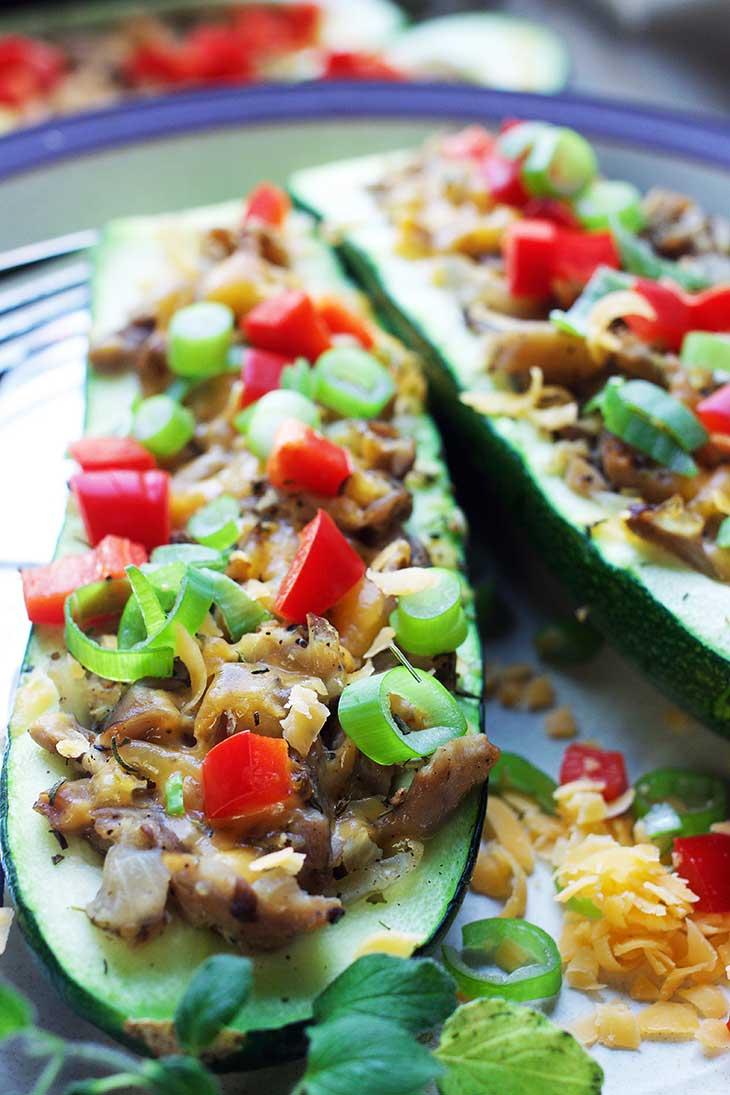 vegan Zucchini boats with mushroom stuffing