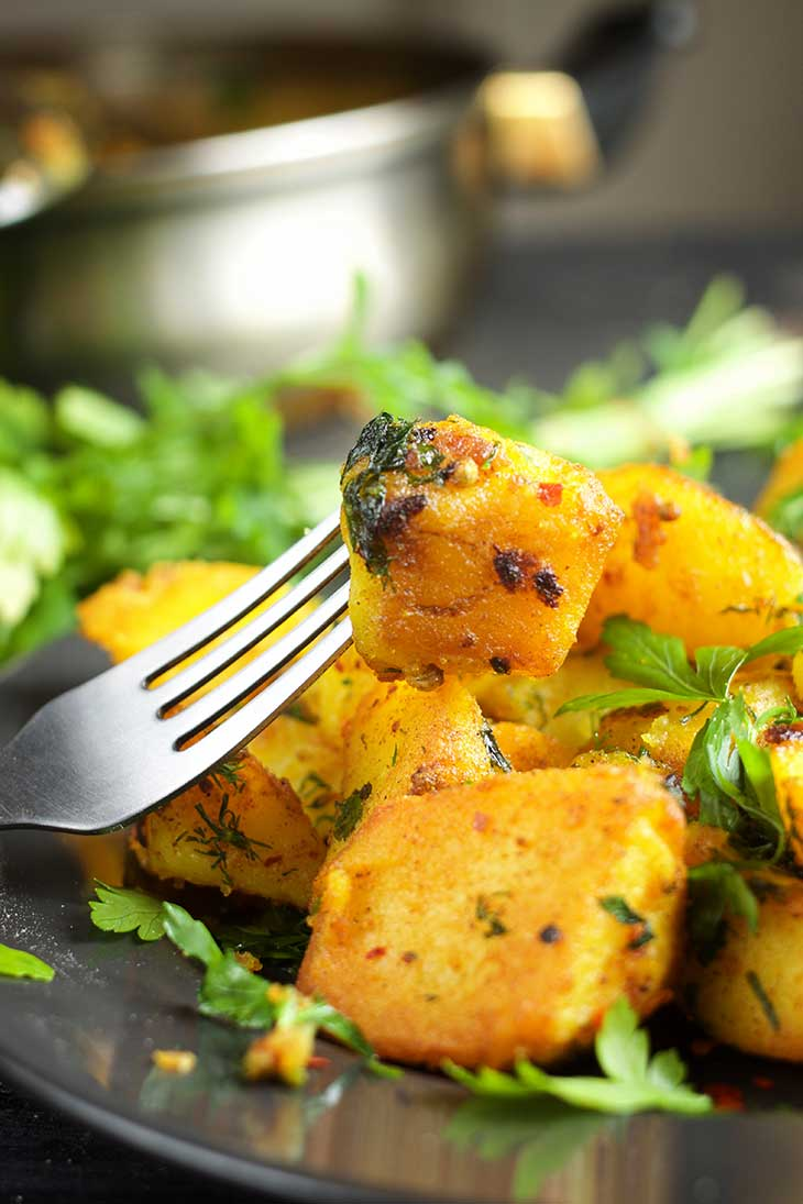 Batata Harra Spicy Roasted Potatoes vegan recipe