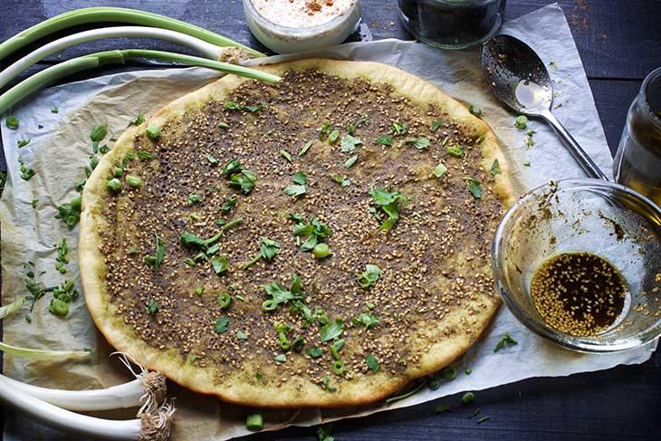Manakish Zaatar spiced pita bread middle eastern recipe