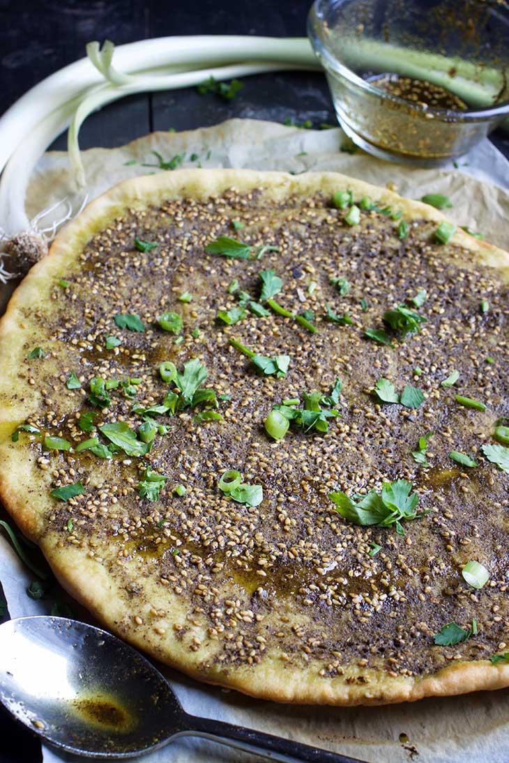 Manakish Zaatar spiced pita bread recipe