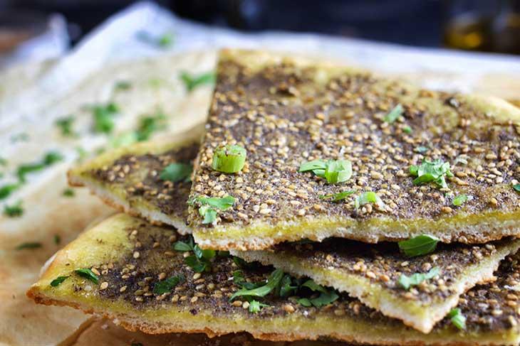 Manakish Zaatar spiced pita bread