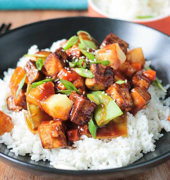 pineapple stir-fry with baked tofu