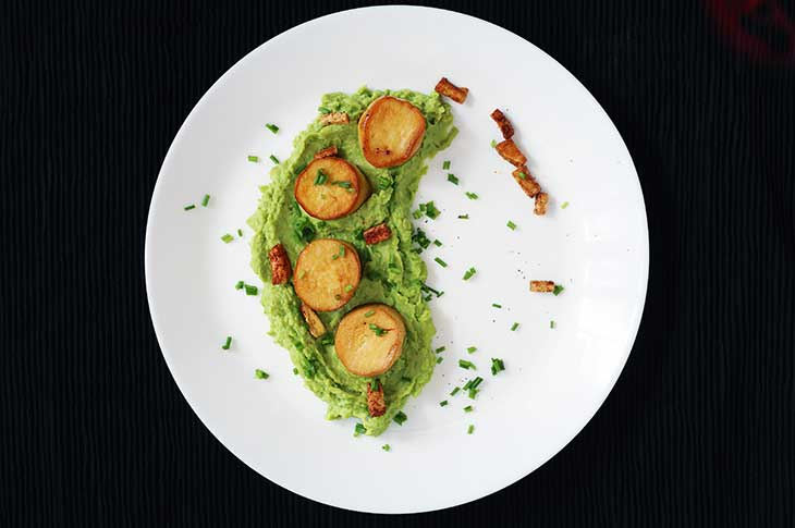 Vegan Scallops recipe with Pea Puree recipe