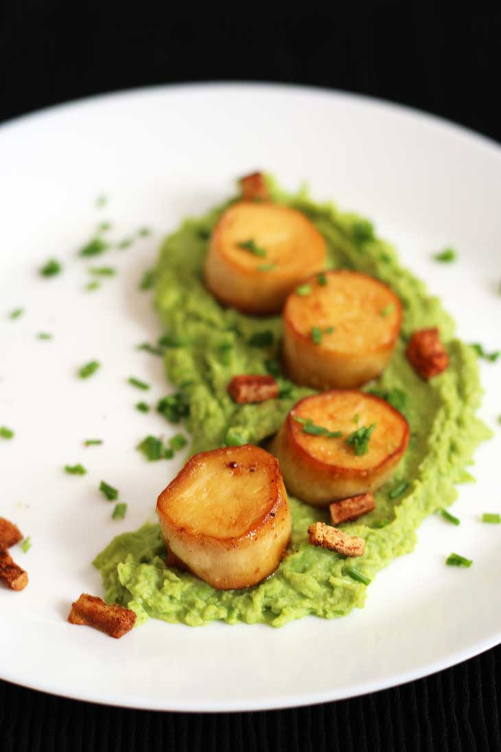 Vegan Scallops with Pea Puree